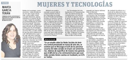 Mujeres y tecnologías por Marta G. Terán