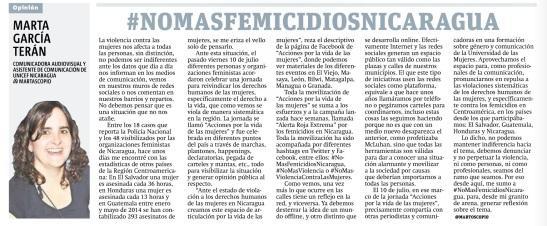 #NoMasFemicidiosNicaragua por Marta García Terán
