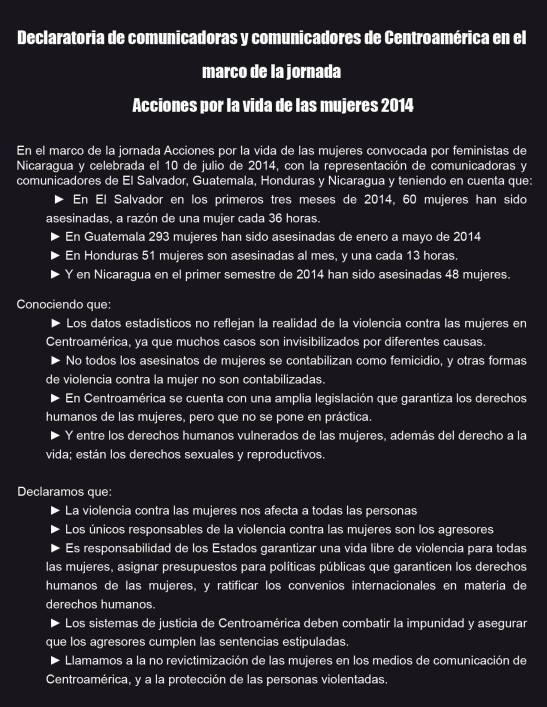 Declaratoria de Comunicadoras y Comunicadores de Centroamérica en el marco de la jornada Acciones por la Vida de las Mujeres 01