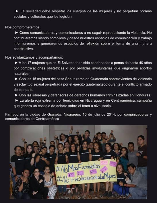 Declaratoria de Comunicadoras y Comunicadores de Centroamérica en el marco de la jornada Acciones por la Vida de las Mujeres 02