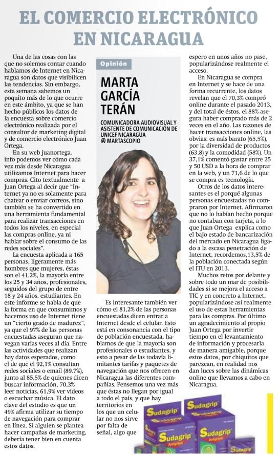 El comercio electrónico en Nicaragua por Marta García Terán