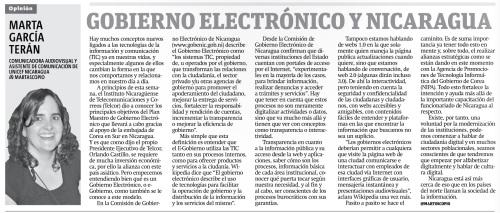 Gobierno Electrónico y Nicaragua