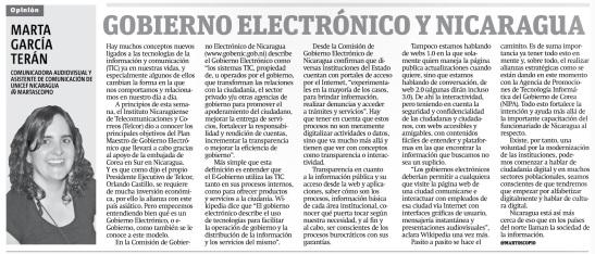 Gobierno Electrónico y Nicaragua por Marta García Terán