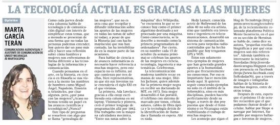 La tecnología actual es gracias a las mujeres, por Marta García Terán
