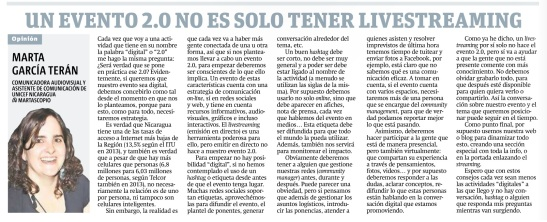 Un evento 2.0 no es sólo tener livestreaming, por Marta García Terán