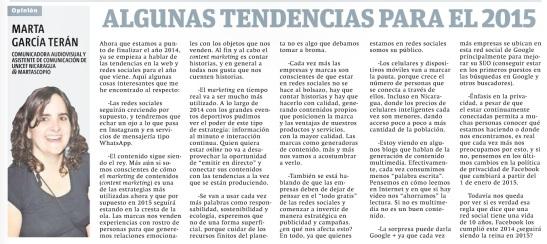 Algunas tendencias para 2015, por Marta García Terán