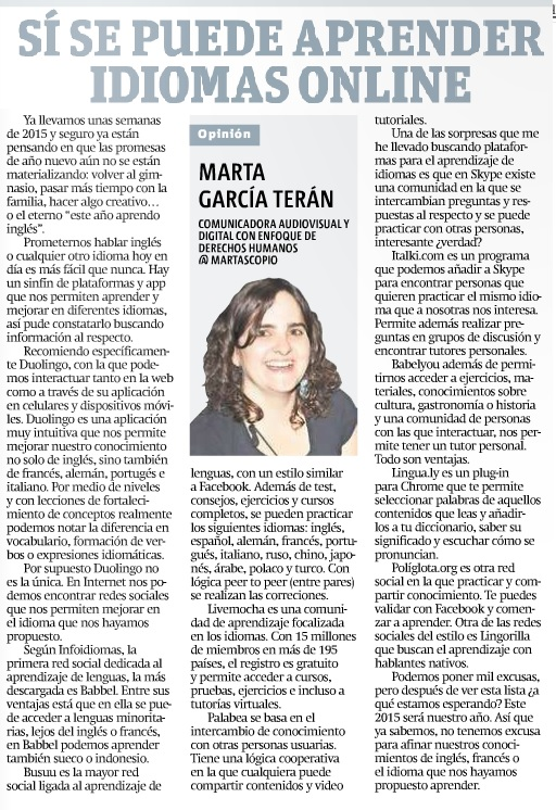 Sí se puede aprender idiomas online, por Marta García Terán