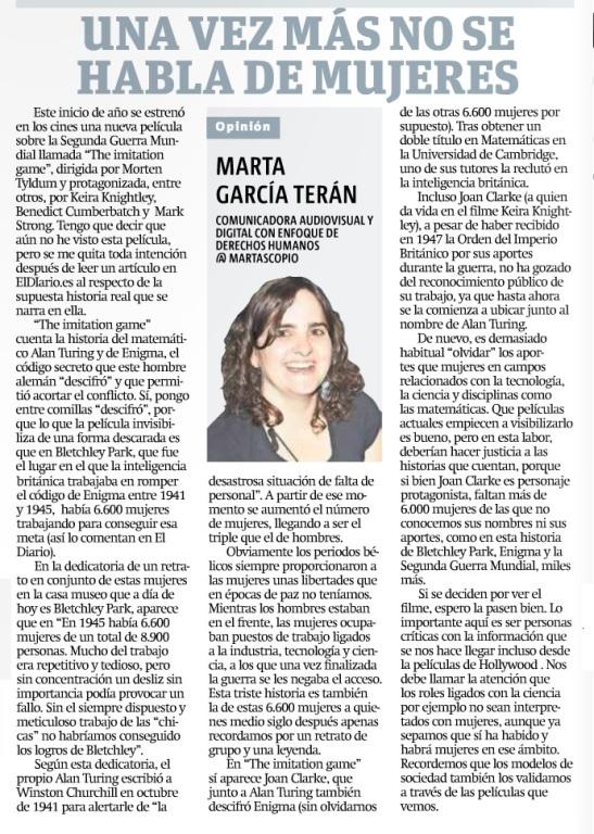 Una vez más no se habla de mujeres, por Marta García Terán
