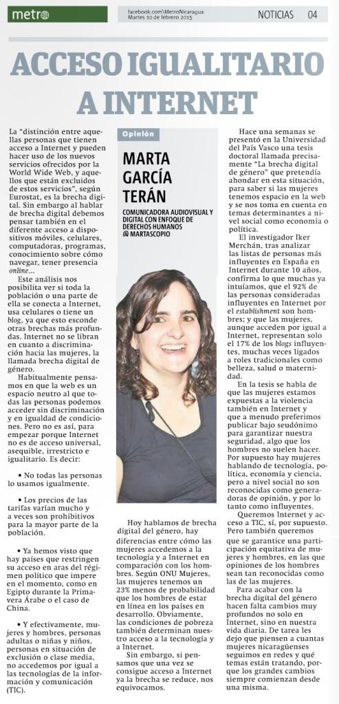 Acceso igualitario a Internet, por Marta García Terán