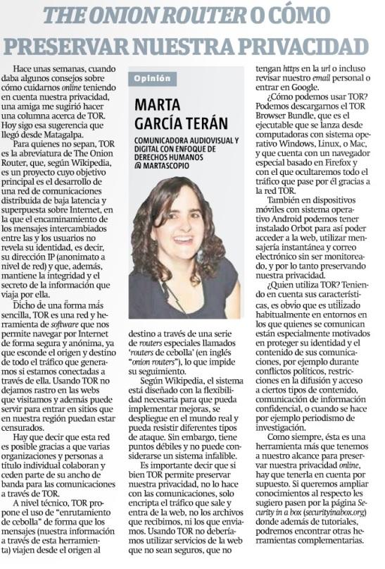 The Onion Router o como preservar nuestra privacidad, por Marta García Terán