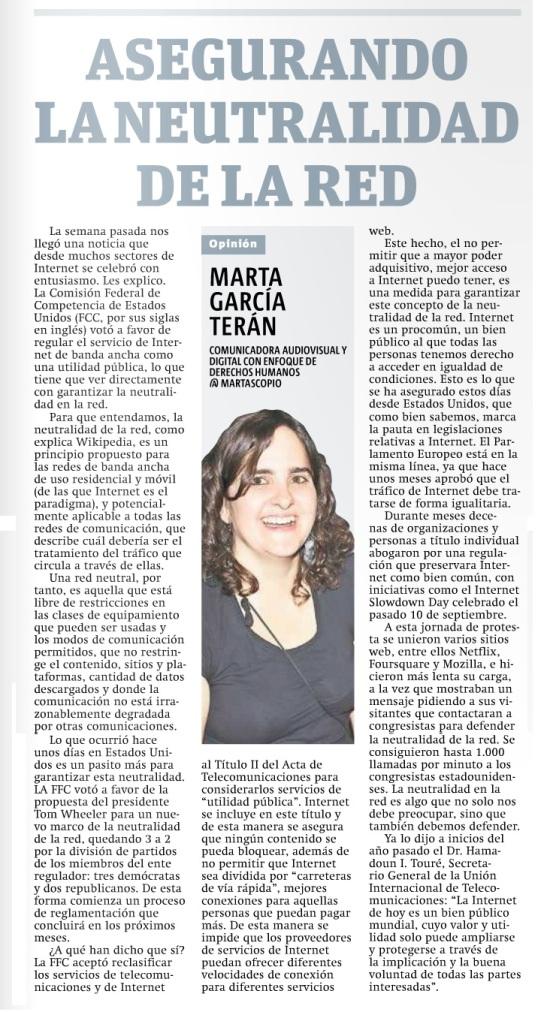Asegurando la neutralidad de la red, por Marta García Terán
