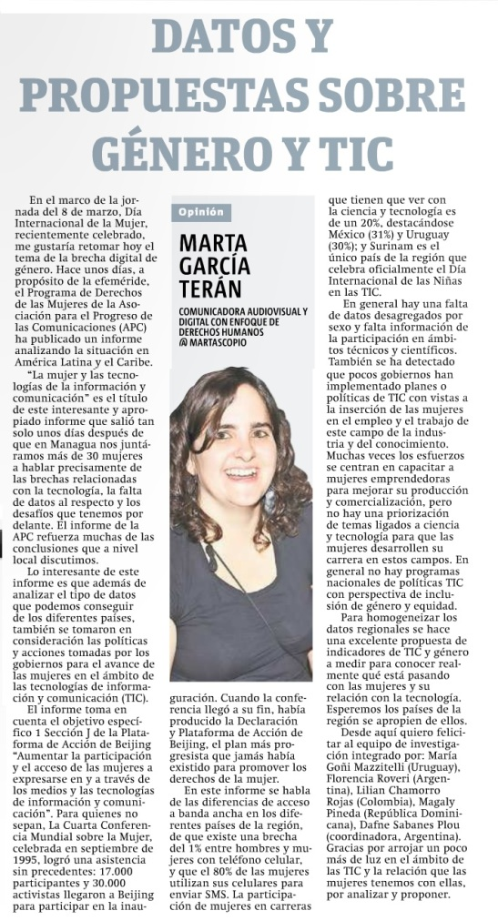 Datos y propuestas sobre genero y TIC, por Marta García Terán
