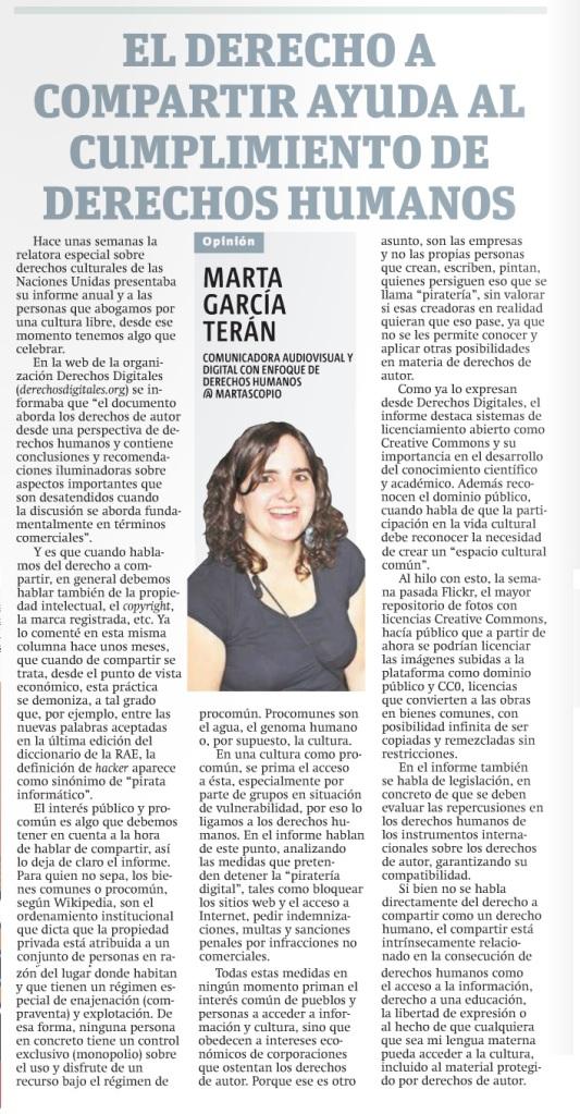 El derecho a compartir ayuda al cumplimiento de derechos humanos, por Marta García Terán