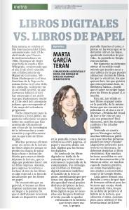 Libros digitales vs libros de papel, por Marta García Terán