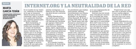 Internet.org y la neutralidad de la red por Marta García Terán