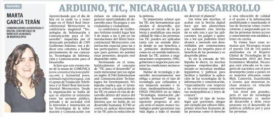 Arduino, TIC, Nicaragua y desarrollo, por Marta García Terán