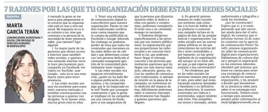 7 razones por las que tu organización debe estar en redes sociales, por Marta García Terán