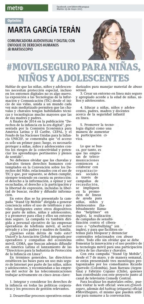 #MóvilSeguro para niñas, niños y adolescentes, por Marta García Terán, disponible en Diario Metro: http://diariometro.com.ni/movilseguro-para-ninas-ninos-y-adolescentes/