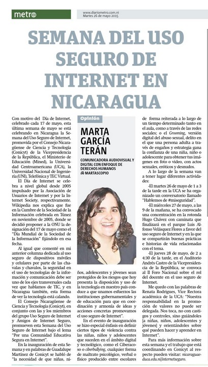Semana del Uso Seguro de Internet en Nicaragua, por Marta García Terán