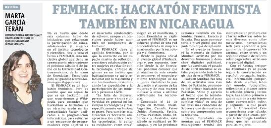 FEMHACK: Hackatón feminista también en Nicaragua, por Marta García Terán