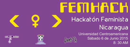 banner FEMHACK Nicaragua, organzizado por Enredadas: Tecnología para la igualdad.