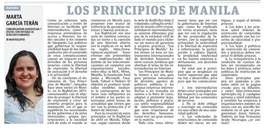 Los Principios de Manila, por Marta García Terán