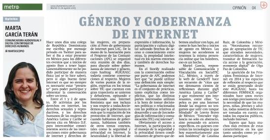 Género y gobernanza de Internet, por Marta García Terán