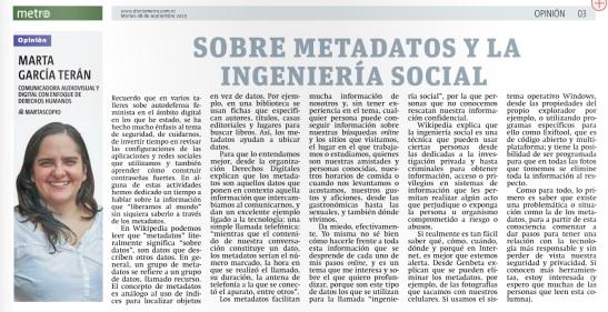 Sobre metadatos y la ingenieria social, por Marta García Terán para Diario Metro en Nicaragua