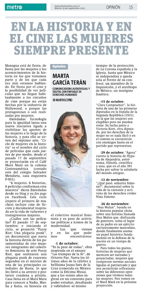 En la historia y en el cine las mujeres siempre presente, pro Marta García Terán