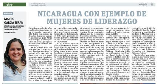 Nicaragua con ejemplo de mujeres de liderazgo, por Marta García Terán para Metro Nicaragua.