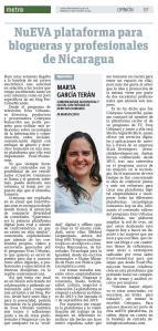 NuEVA plataforma para blogueras y profesionales de Nicaragua, por Marta García Terán