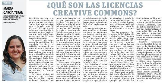 ¿Qué son las licencias Creative Commons? por Marta García Terán para Metro Nicaragua.