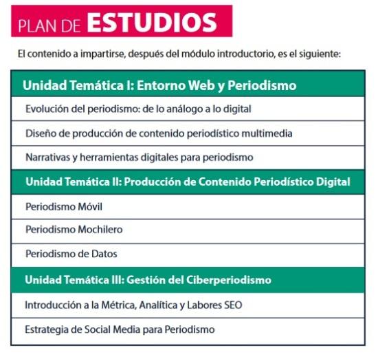 Plan estudios IV DIplomado Periodismo Digital