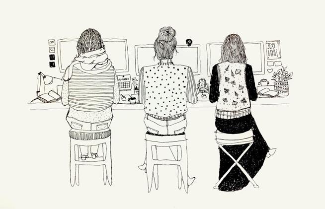 """Fuente: ilustración en """"Ciberfeminismo e a apropriação da internet"""" de Juliana Vaz en, 2018."""